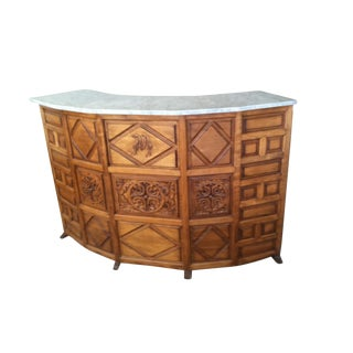 Hand Carved Wooden Bar With Marble Top