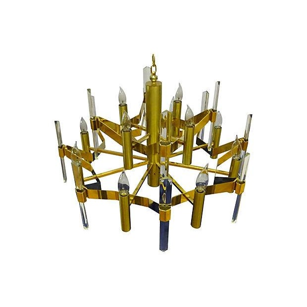 Image of Sciolari Brass and Crystal Chandelier