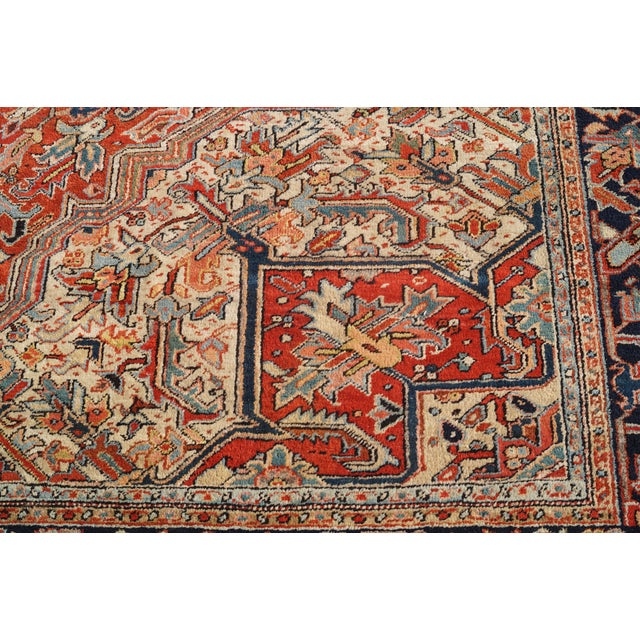 Antique Hand Woven Persian Heriz Rug - 11′6″ × 16′8″ - Image 6 of 10