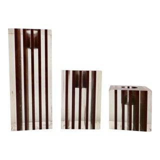 Striped Lucite Candle Holders - Set of 3