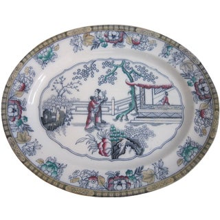 Antique English Chinoiserie Pottery Tray