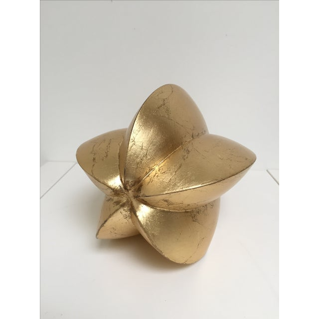 Gold Leafed Carved Wooden Seed Shape Figurine - Image 4 of 4