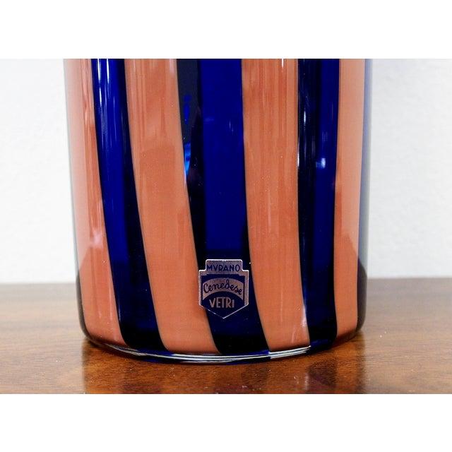 Cenedese Vintage Vetri Murano Glass Striped Vase - Image 6 of 7