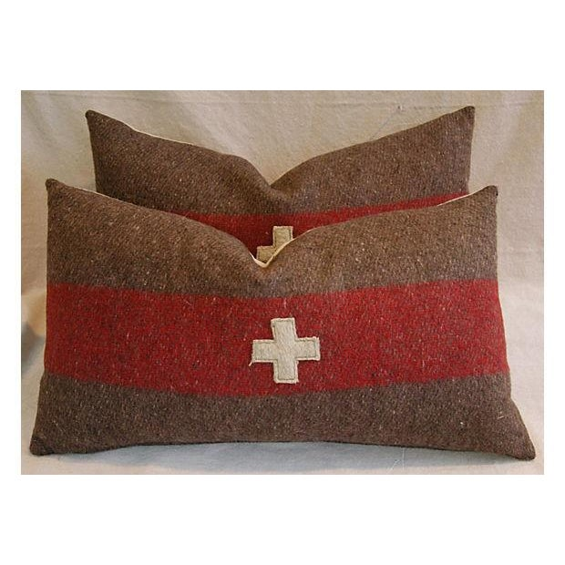 Swiss Wool Appliqué Cross Lumbar Pillows - Pair - Image 3 of 8