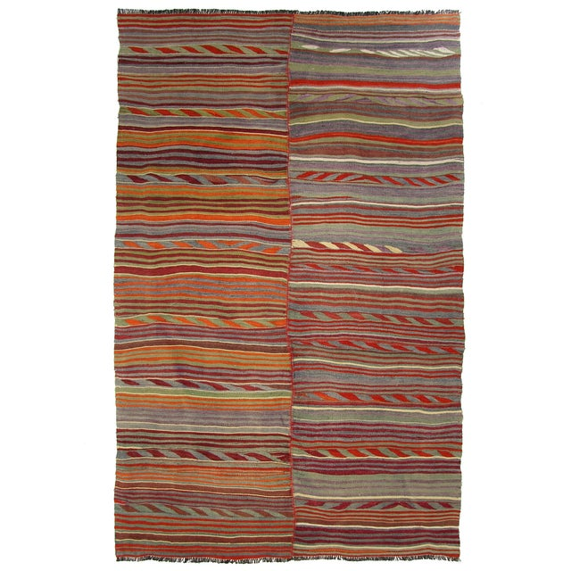 Two-Panel Vintage Turkish Kilim Rug - 6'3 X 8'9 - Image 1 of 4