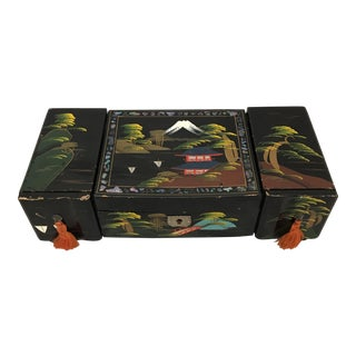 Mid-Century Hand Painted Scenic Japanese Music Box