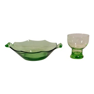 Mid-Century Light Neon Green Bowl & Cordial