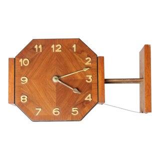 Mid-Century English Double Sided Wall Clock
