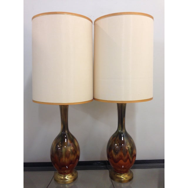 Image of Vintage Amber Drip Glaze Lamps - A Pair