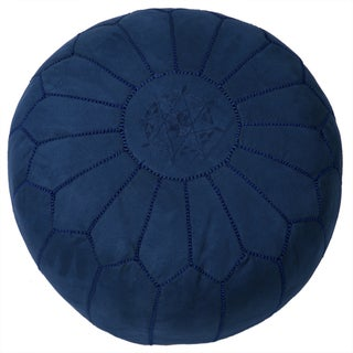 Suede Leather Pouf in Blue