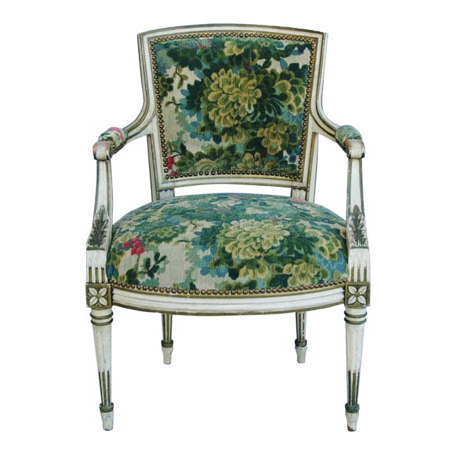 Scalamandre Marly Velvet Tapestry Fabric Armchair - Image 1 of 11