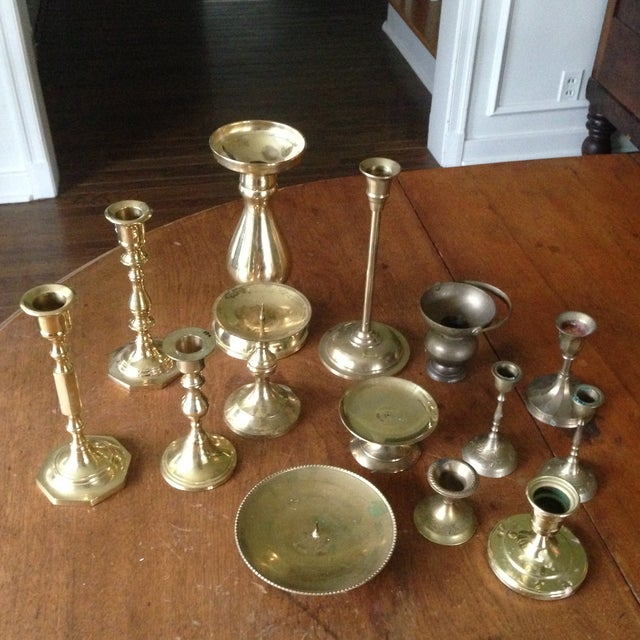 Vintage Brass Candleholders - Set of 14 - Image 4 of 10