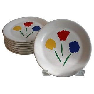Marimekko Glazed Ceramic Dessert Plates - S/8