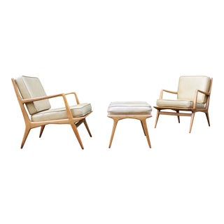 Carlo DI Carli Lounge Chair & Ottoman Set - Pair