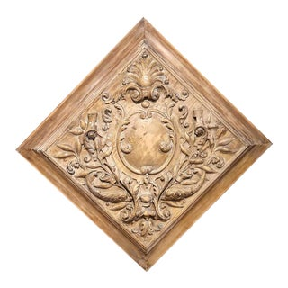 19th Century French Dolphins, Leaves and Centre Crest Carved Square Panel