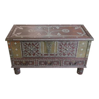Zanzibar Arab Wooden and Brass Studded Coffee Cocktail Table Trunk or Chest