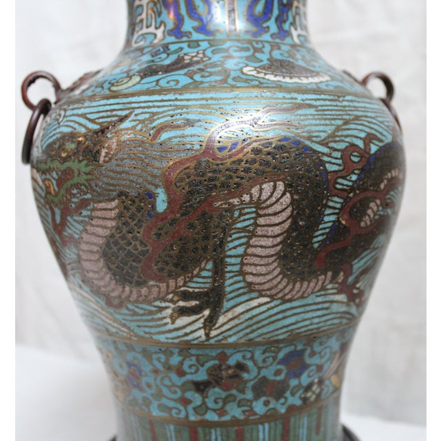 Vintage Japanese Champleve Urn Lamp - Image 5 of 5
