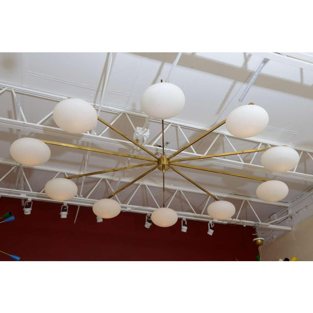 Mid-Century Modern Ten-Opaline Shade Chandelier in the style of Arredoluce - Image 2 of 10