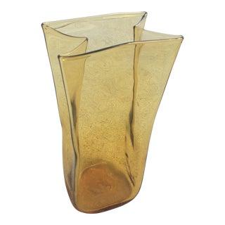 Blenko Amber Art Glass Signed Vase