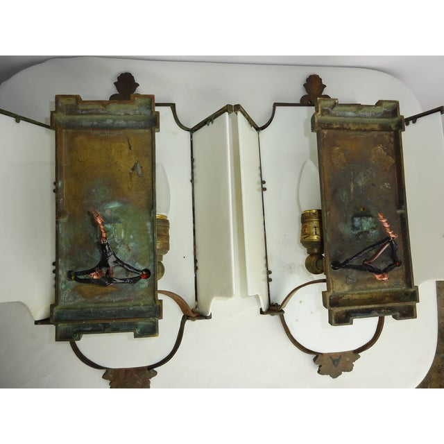 Sterling Bronze Co. Antique Deco Sconces - A Pair - Image 9 of 9