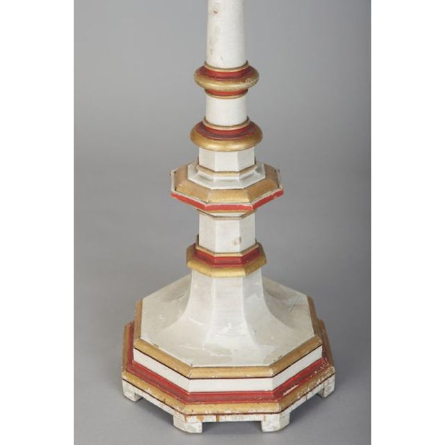 Antique 19th C. White & Red Gilded Pricket Stick - Image 4 of 5