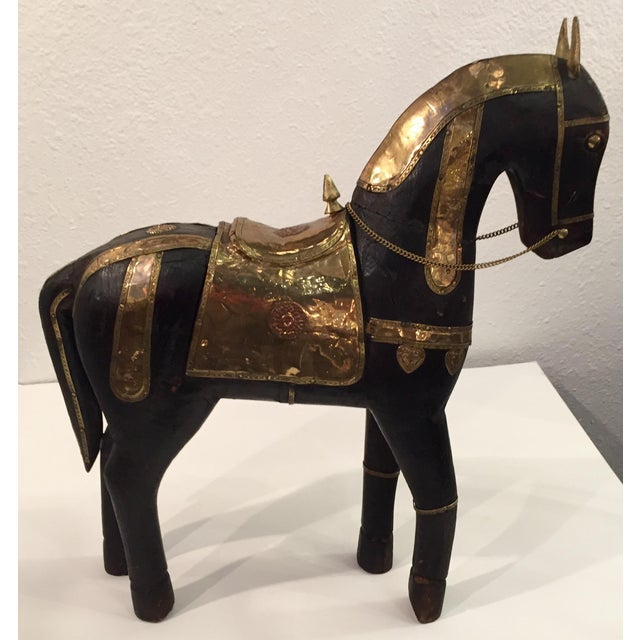 Asian Carved Wood & Brass Trojan Horse Set - Image 5 of 10