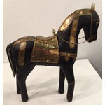 Image of Asian Carved Wood & Brass Trojan Horse Set