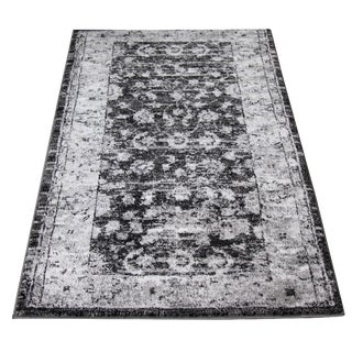 Antiqued Gray Modern Rug - 3′ × 5′