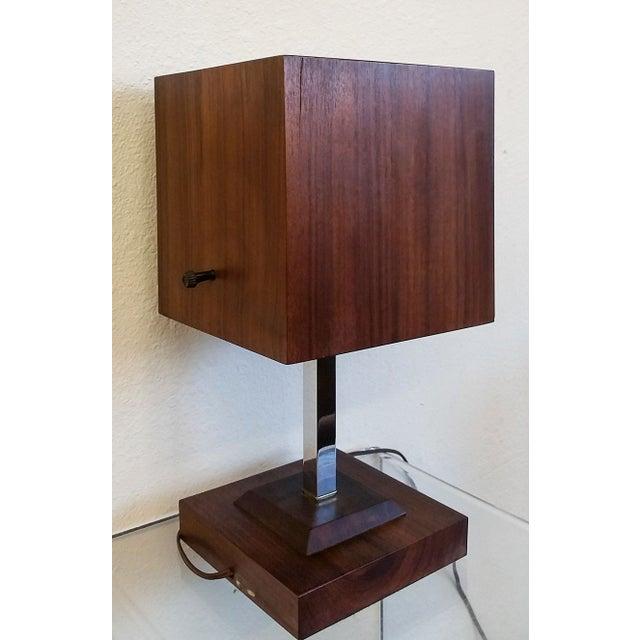 Image of Mid Century Nelson Style Walnut Table Clock