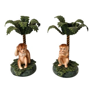 Monkey Palm Tree Tole Candlesticks - A Pair