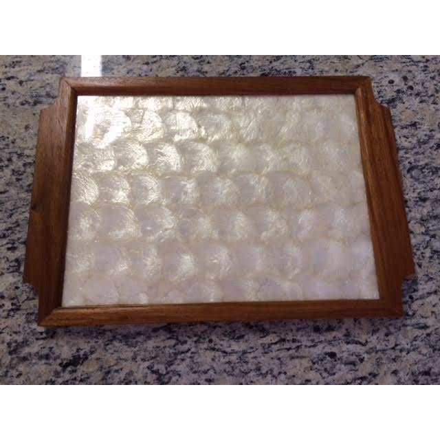 Vintage Gump's Capiz Shell & Wood Tray - Image 2 of 6