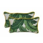Image of Palm Lumbar Pillows With Yellow Cording - a Pair