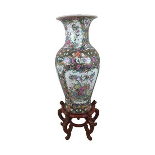 Large Chinese Rose Medallion Vase and Stand