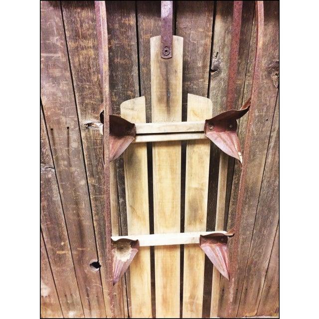 Vintage Brown Weathered Wood & Metal Runner Sled - Image 11 of 11