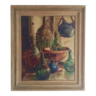 Mid Century Modern Oil Painting Glass Bottles Demijohn Still Life Painting