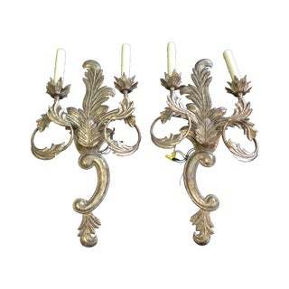 Bronze Double Candle Wall Sconces - a Pair