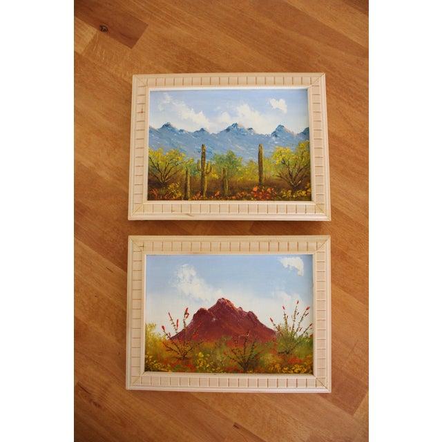 Framed Vintage Desert Paintings - Pair - Image 2 of 4