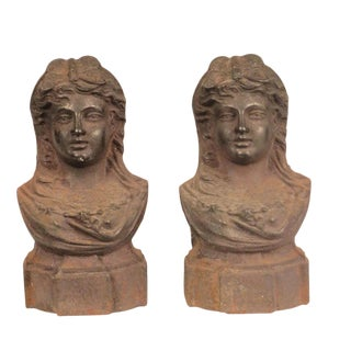 French 19th century Female Bust Andirons