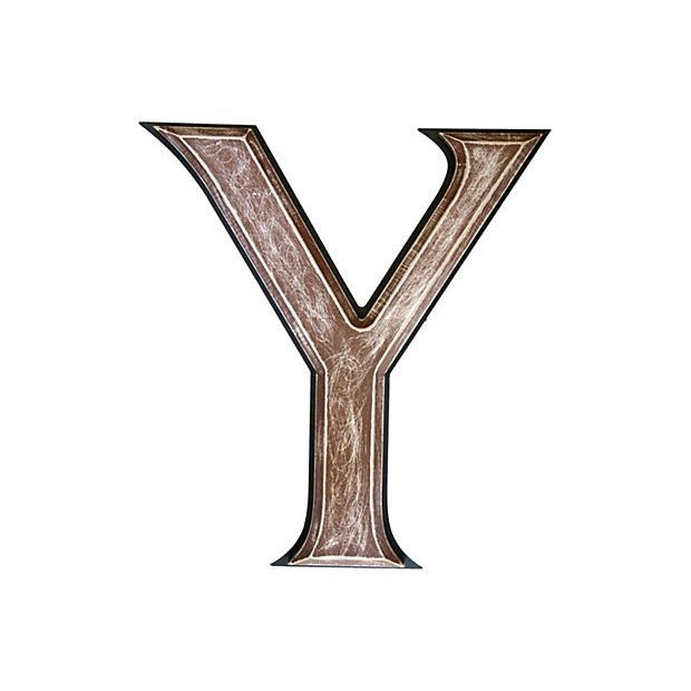 """Image of Large 18"""" Vintage Wooden Marquee Letter Y"""