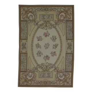 French Aubusson Design Hand Woven Ivory Floral Wool Rug - 4' X 6'