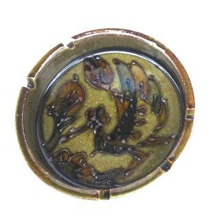 Mid Century Scraffitto Textured Pottery Ashtray