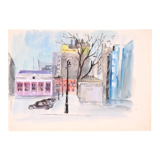 "C. 1950 Edith Alder ""Winter in the City"" Watercolor Painting"