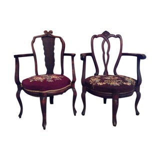 Antique Carved Mahogany Needlepoint Chairs - Pair