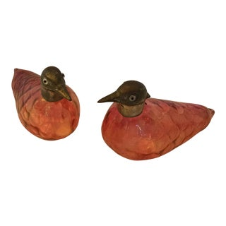 Cranberry Bird Decanters - A Pair