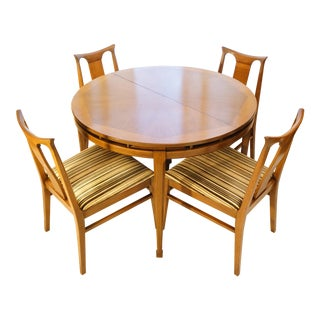 White Furniture Mid-Century Modern Round Dining Set - Set of 5