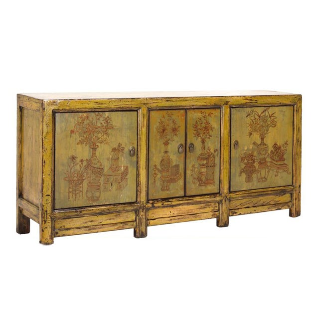 Image of Yellow & Green Floral Sideboard or Buffet Table