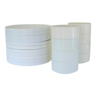 Massimo Vignelli Architect's White Compact Stacking Dinnerware - Set of 19