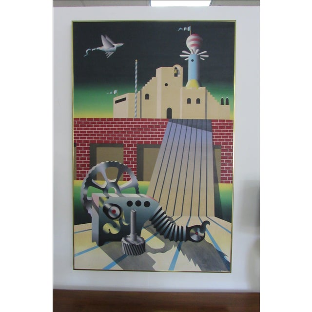Industrial Age Surrealist Painting - Image 3 of 6