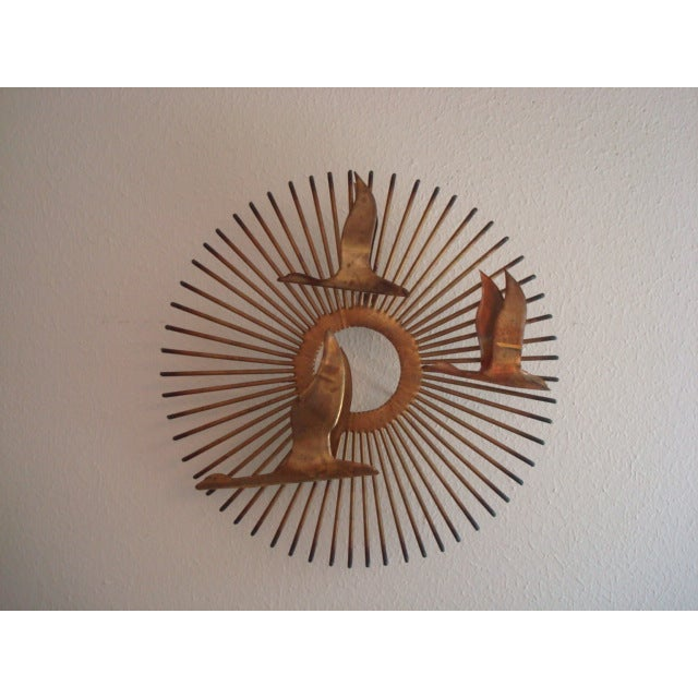Vintage brass sunburst wall art chairish for Sunburst wall art