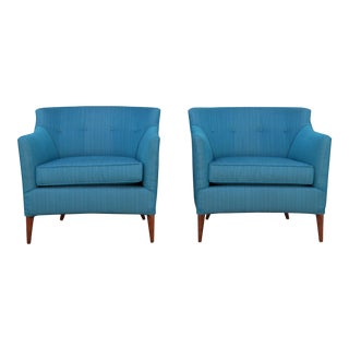 Mid Century Turquoise Chairs - A Pair